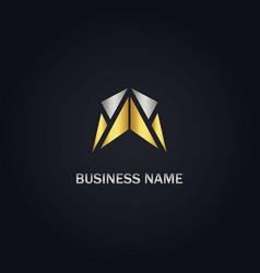 arrow abstract gold logo vector image