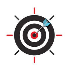 arrow in target centre icon dart in bullseye vector image