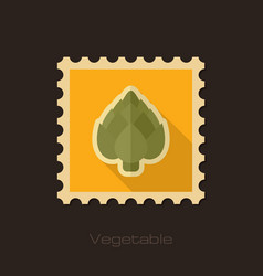 Artichoke flat stamp vegetable vector