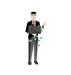 Asian investor holding money suitcase vector