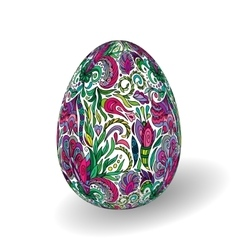 Beautiful painted easter egg on white background vector image
