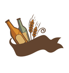 beer brewing logotype emblem with wheat and vector image