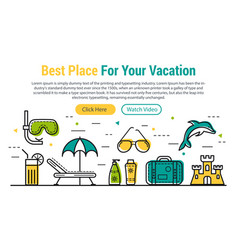 best vacation - rectangular site header vector image