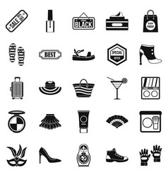 Black friday icons set simple style vector