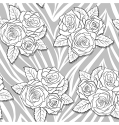 Bouquets roses on animal abstract print vector