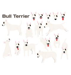 Bull terrierdog in action happy dog vector