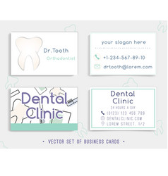 Business card template design for a dental clinic vector