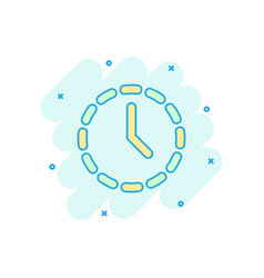 cartoon clock time icon in comic style timer sign vector image