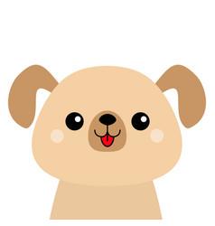 Cartoon dog happy head face silhouette cute pooch vector
