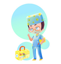Cartoon male doctor character with yellow file vector