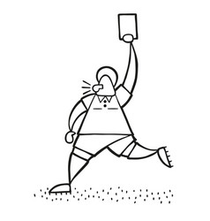 cartoon referee man running and showing red card vector image