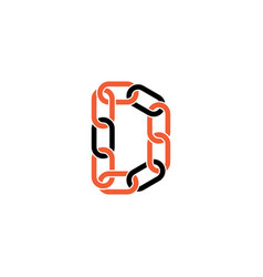 chain letter d link logo icon vector image