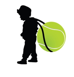 Child holding tennis ball vector