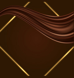 Chocolate background with golden glowing frame vector