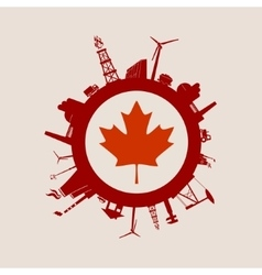 Circle with industrial silhouettes Canada flag vector