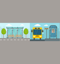 city bus stop banner set flat style vector image