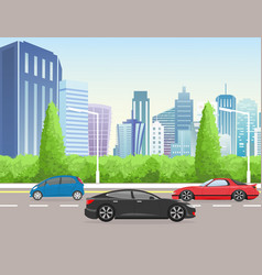 city street with skyscraper vector image