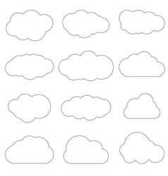 Clouds line art icon storage solution element vector