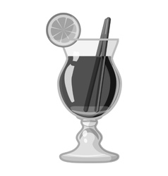Cocktail with lemon icon gray monochrome style vector image