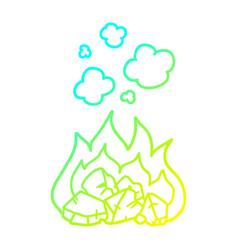 Cold gradient line drawing cartoon hot coals vector