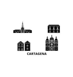 Colombia cartagena flat travel skyline set vector