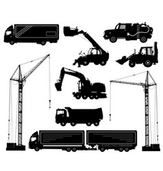 Construction equipment trucks excavator vector