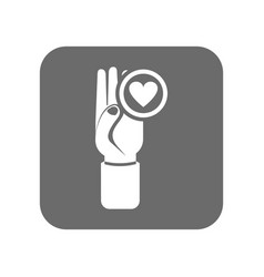Customer service icon with hand up sign vector