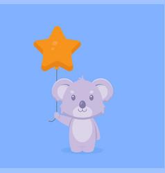 Cute koala holding balloon free vector