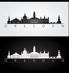 dresden skyline and landmarks silhouette vector image
