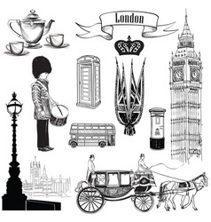 english icon set london city symbols travel uk vector image
