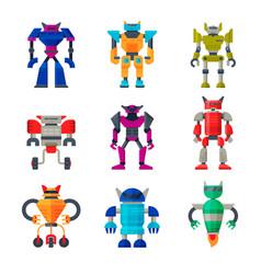 Flat set of robot transformers futuristic vector
