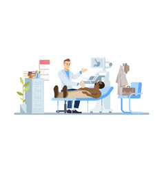 gastroenterologist examining man flat doctor vector image