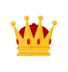 gold king crown flat cartoon vector image