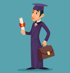 graduate student cartoon character design vector image