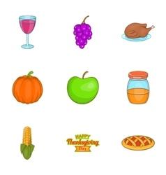 Gratitude celebration icons set cartoon style vector image