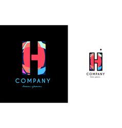 H blue red letter alphabet logo icon design vector