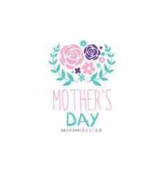 happy mothers day logo design label with flowers vector image