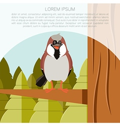 happy sparrow on tree flat background vector image