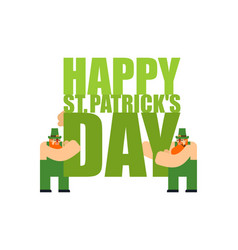 Happy st patricks day lettering and leprechaun vector