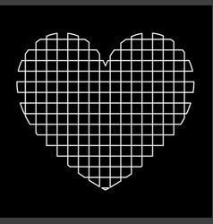 Heart with square white color path icon vector