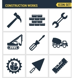 Icons set premium quality of construction works on vector image