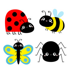 Insect set ladybug ladybird bee bumblebee vector