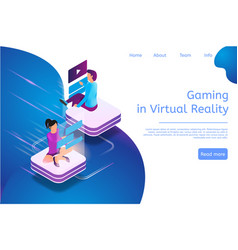 Isometric banner gaming in virtual reality in 3d vector