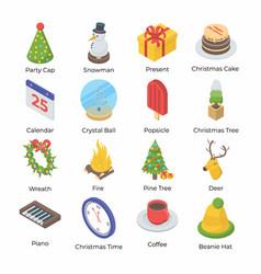 Isometric icons christmas vector