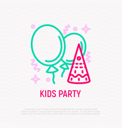 Kids party thin line icon balloons confetti vector
