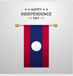 Laos independence day hanging flag background vector