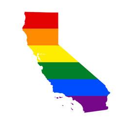 Lgbt flag map of california rainbow map of vector