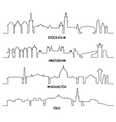 Line art stockholm amsterdam washington oslo vector