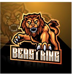 Lion esport mascot logo design vector