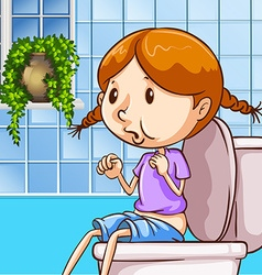 Little girl using toilet vector
